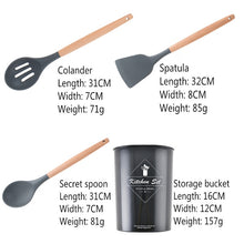 Load image into Gallery viewer, Silicone Wooden Handle Cooking Tool Set