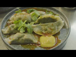 Load and play video in Gallery viewer, STEAMED SPINACH + SHIITAKE DUMPLINGS