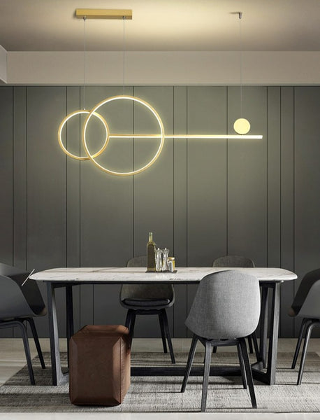 Lights of Scandinavia - Key - LED Modern Simple Chandelier Restaurant Bar Black White Gold Long Pendant Lamp Dining Room Coffee Shop Round Rings Hanging Light Simple hanging LED chandelier. Modern lighting for dining rooms, bars, restaurants, or the coffee shop.   One chandelier is good for approx. 15-20 square meters.  54W 100cm wide, 100cm high, 50cm diameter 3 body color options 3 lighting color options