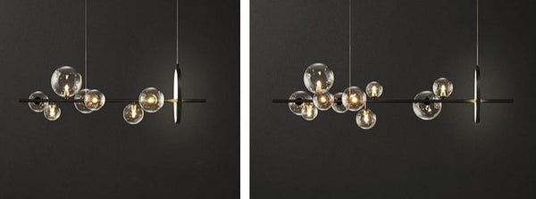 Lights of Scandinavia - Macrocosm - Modern hanging glass ball LED lighting. Nordic style chandelier for dining rooms, bars, restaurants or why not at the coffee shop?    2 sizes - 90 or 120cm width. 7 Heads - Width 90cm, Height 30cm, 7x5W + 17W 10 Heads - Width 100cm, Height 30cm, 10x5W + 17W