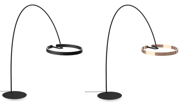 Lights of Scandinavia - Gloria - Elegant self-supporting designer lamp. Minimalistic design, stainless steel body in brushed titanium/gold color. Long-life LED chip. Suitable for: Bedroom, Living room, Dining room, etc. 60W - Ring diameter 60cm, Height 220cm, Width 195cm, 10-15m2 Available in 3 colors.