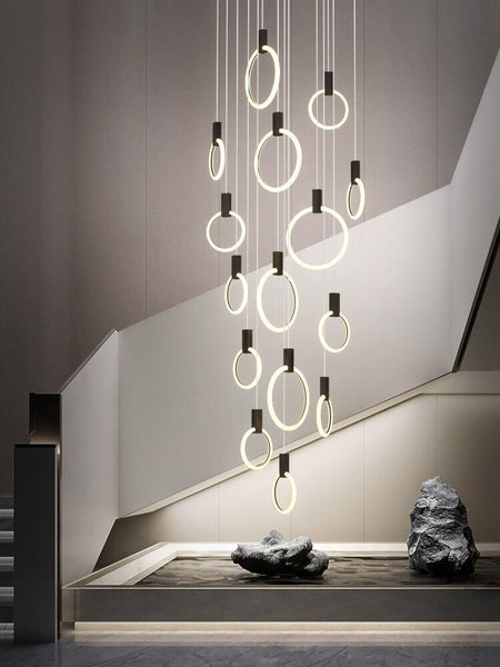Lights of Scandinavia - Halo - Modern hanging stair LED chandelier. Perfect for creating a mood in any corner or in a stair. Aluminum/acrylic rings. Specifications Light Source LED Bulbs Base Type 2G11 Is Bulbs Included Dimmable Switch Type Power Source AC, 110-240V Lighting Area Coverage Installation Type Semiflush Mount Body Material Acrylic Warranty 2 years Certification CCC, CE, CQC, FCC, GS, LVD, PSE, ROHS, SAA, UL