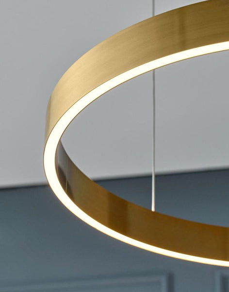 Simple yet elegant pendant light. Minimalistic design, stainless steel body in brushed titanium/gold color. Long-life LED chip. Adjustable hanging lines. Suitable for: Bedroom, Living room, Dining room, etc. LED Chandelier Light Round Rings Style Modern Study Dining Room Bedroom Hanging Lamp Gold Restaurant Designer Creative Luminaire Adjustable Hanging Line Available in 6 sizes