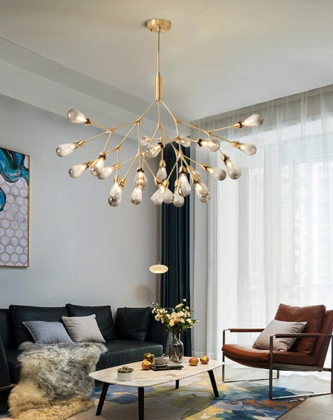 Lights of Scandinavia - Inflorescence - Nordic luxury copper LED chandelier. Modern lighting for dining rooms, hallways or why not light up the entrance hall? Luxury LED Chandelier Lighting Firefly Dining Living Room Creative Hanging Lamp Modern Bedroom Home Deco Fixtures