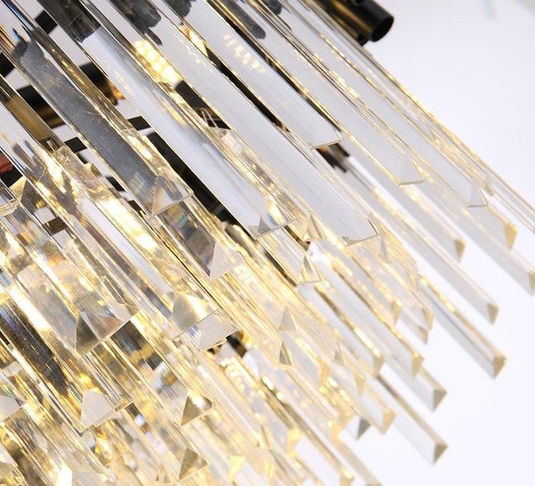 Grand luxurious crystal chandelier. Round black framework combined with luxury K9 crystals and modern LED light sources. A modern heart encapsulated in classic design. Perfect for refining dining rooms, living areas, hallways, entrance halls, etc. 4 sizes - 45-100cm Two emitting colors - Warm light(3000K), Cool light(6000K) Black modern chandelier lighting for living room luxury round crystal lamp home decoration chain led cristal light fixtures