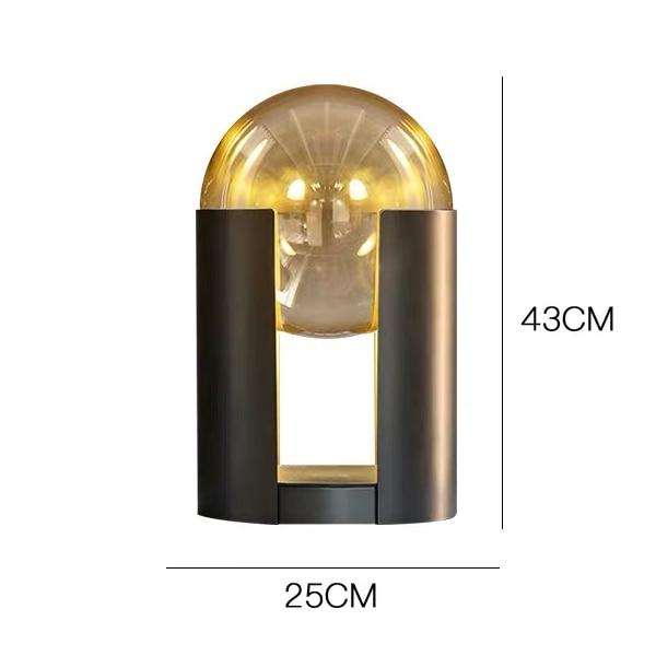 Lights of Scandinavia - Oracle - Modern LED table lamp  Material: wrought iron, glass Color: dry color Light source: LED Process: baking paint Size: D25cm H43cm Suitable for: living room, bedroom, dressing table, study