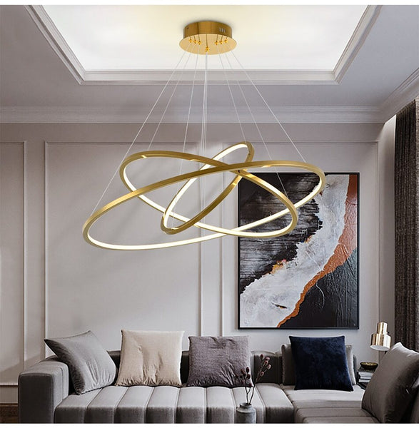 Lights of Scandinavia - Vienna - Simple yet elegant pendant light/chandelier. Modern minimalistic design, 1.5mm stainless steel with a vacuum plated gold surface and polymer silicone lampshade. Long-life LED chip. Adjustable hanging length. For high ceilings, we can customize suspension wires according to your request. Suitable for: Lobbies, bedrooms, living rooms, dining rooms, staircases, etc.