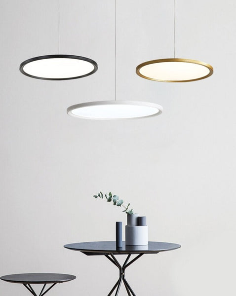 Lights of Scandinavia - Minimalist - Simple yet elegant pendant light.  Minimalistic ultra-thin aluminum body and adjustable cord length of up to 150cm.  Available in 3 sizes: 24W - Diameter 40cm, Height 5cm, 5-8m2 31W - Diameter 50cm, Height 5cm, 8-13m2 37W - Diameter 60cm, Height 5cm, 10-15m2