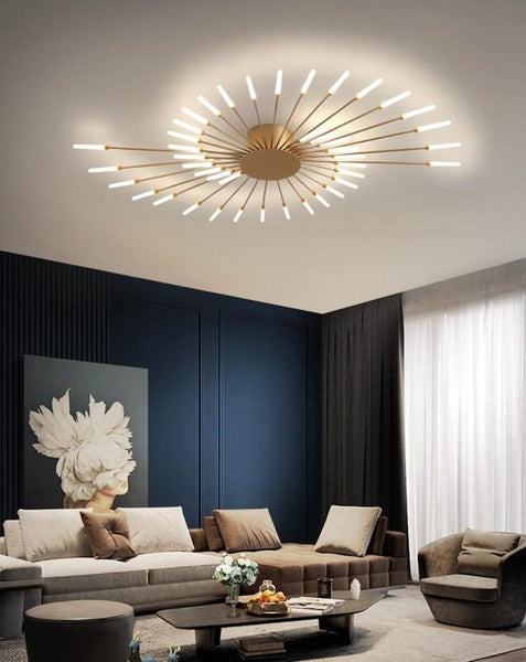 Lights of Scandinavia - Macig Wand - Ceiling mounted LED chandelier. Fits most rooms - livingrooms, bedrooms etc. Creates a bright yet harmonic atmosphere with a magic warm diffuse cascade.   Iron body and frame, frosted glass ends.  Warm light.  Magic Wand comes in 6 different sizes: 12 Heads - 12W, Diameter 80cm, Height 7cm, 8-12m2