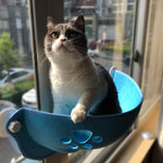 Load image into Gallery viewer, Cat Hammock Bed - Pawprint Cat Window Perch Hammock Bed, Window Cat Bed with Suction Cups & Cat Window Hammock