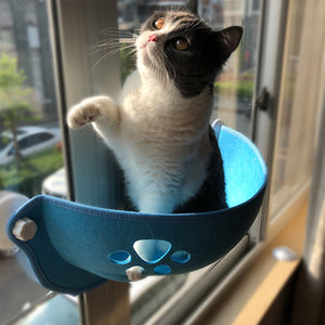 Cat Hammock Bed - Pawprint Cat Window Perch Hammock Bed, Window Cat Bed with Suction Cups & Cat Window Hammock
