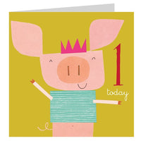 Age One Piglet Birthday Card