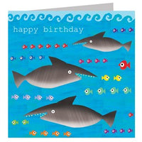 Sharks Happy Birthday Card
