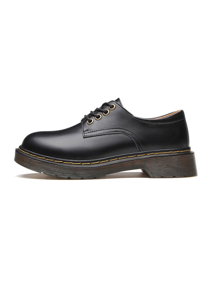 Spring Fall Platform Lace-Up Front Low Heel Casual Leather Brogues