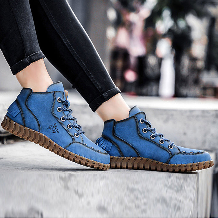 Round Toe Lace-Up Front Daily Low Heel Spring Leather Sneakers