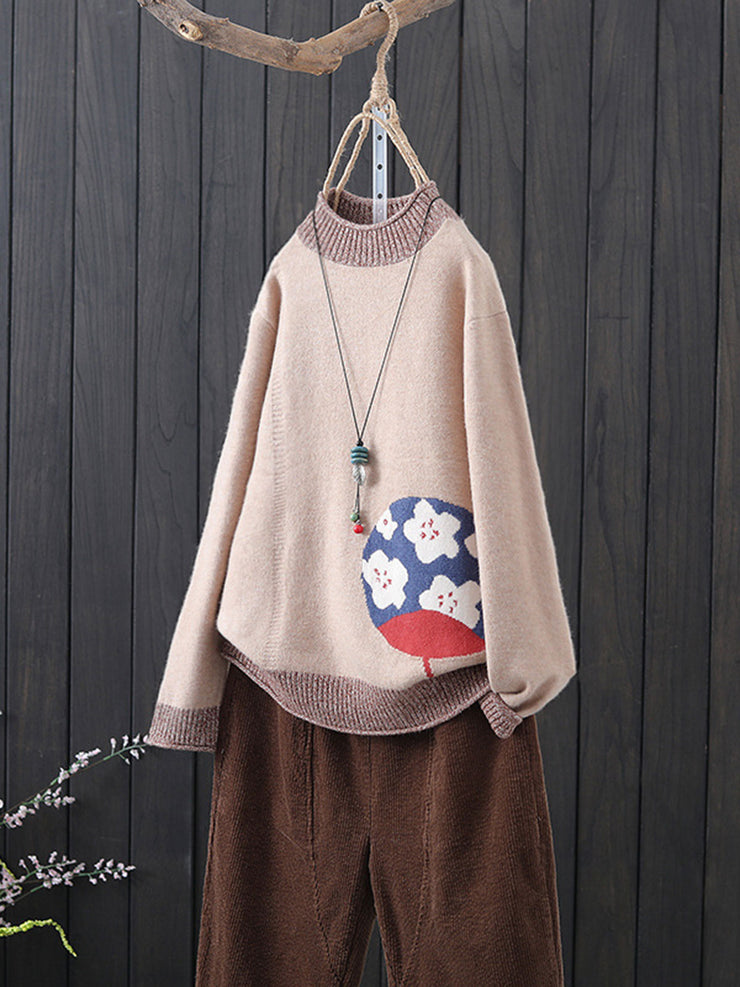 Ethnic Jacquard Embroidery Winter Round Neck Loose Sweater