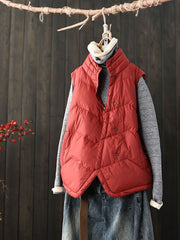 Single-Breasted Stand Collar Winter Pocket Cotton Vest
