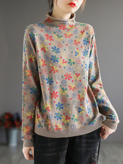 Ethnic Pullover Print Turtleneck Winter Cotton Sweater