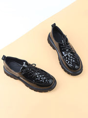 Lace-Up Front Platform Casual Chunky Heel Fall Leather Brogues