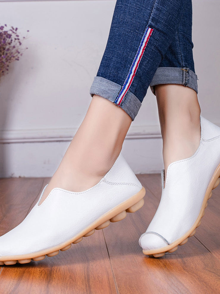 Flat Heel Spring Fall Casual Round Toe Leather Flats