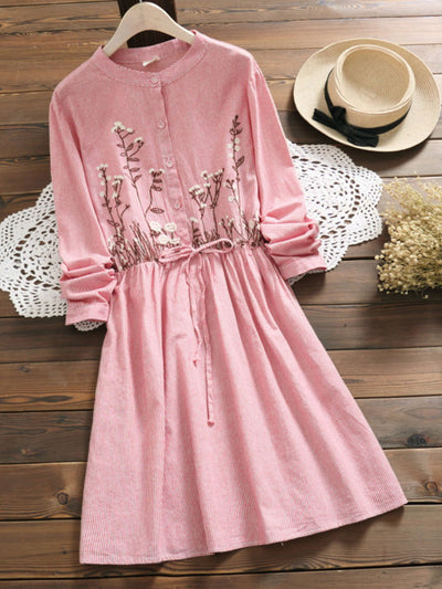 Pullover Print Embroidery Fall Spring Round Neck Cotton Dress