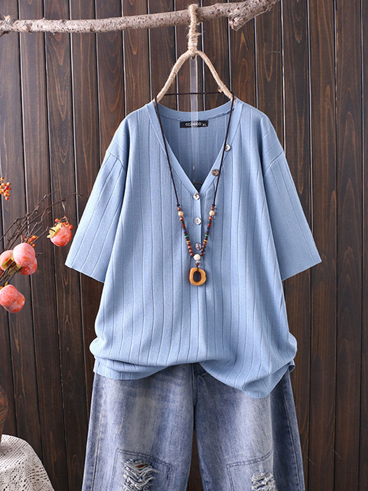 Summer Button Sweet Single-Breasted V-Neck Loose T-Shirt