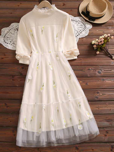 Embroidery Knee-Length Pullover Sweet Spring A-Line Dress
