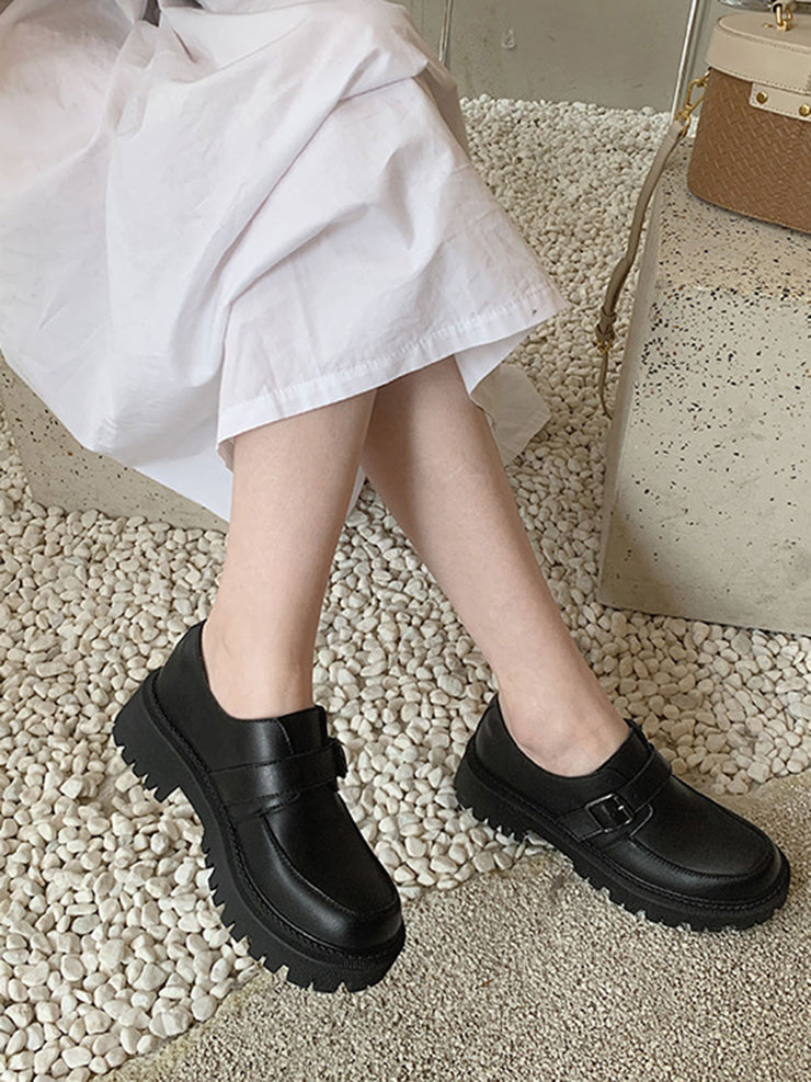 Platform Hasp Casual Chunky Heel Leather Spring Fall Loafers