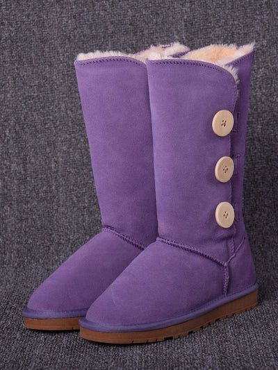 Winter Fleece Flat Heel Buckle Knee-High Leather Snow Boots