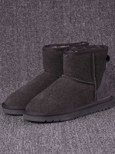 Ankle Slip-On Round Toe Winter Flat Heel Daily Leather Snow Boots