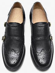 Solid Color Brock Carved Mary Jane Style Loafers