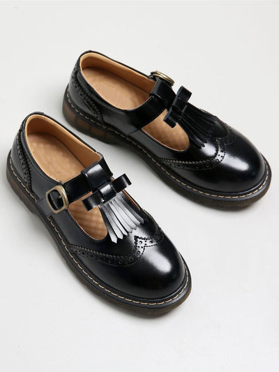 Sweet Buckle Spring Fall Low Heel Leather Loafers