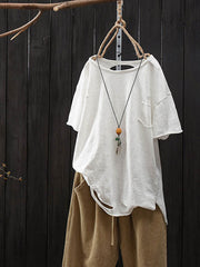 Round Neck Hole Summer Ethnic Short Sleeve Loose T-Shirt