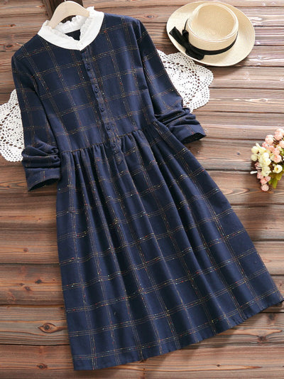 Fall Spring Print Vintage Plaid Knee-Length Single Dress