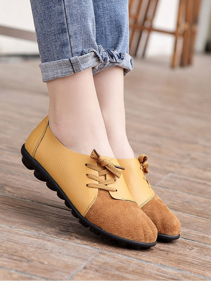 Lace-Up Front Casual Flat Heel Spring Fall Leather Flats