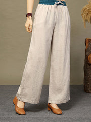 Ethnic Color Block Lace-Up Fall Spring Wide Legs Cotton Pants