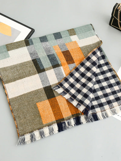 Fall Winter Sweet Plaid Tassel Cashmere Scarf