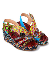Summer Hand Painted Euro-American Square Toe Sandals