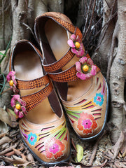 Vintage Hand Painted High Heel Flower Leather Heels
