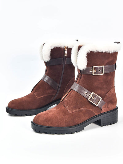 Chunky Heel Vintage Buckle Winter Fleece Leather Boots