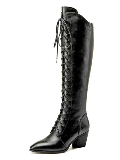Over-the-Knee Spring Fall Leather Pointed Toe Lace-Up Front Boots