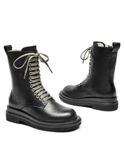 British Side Zipper Patchwork Round Toe Mid-Calf Boots