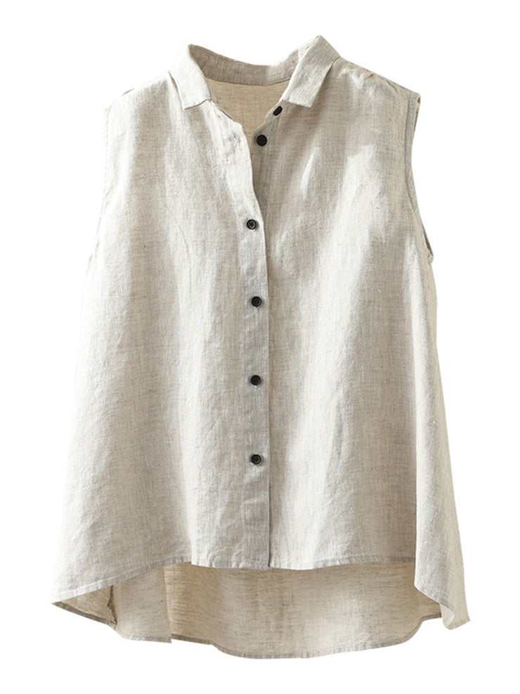Casual Plain V-Neck Sleeveless Summer Pullover Linen Tank Top