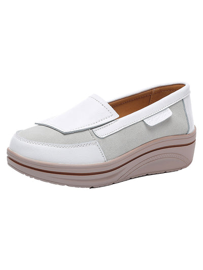 Fall Casual Slip-On Flat Heel Leather Round Toe Wedge Heels