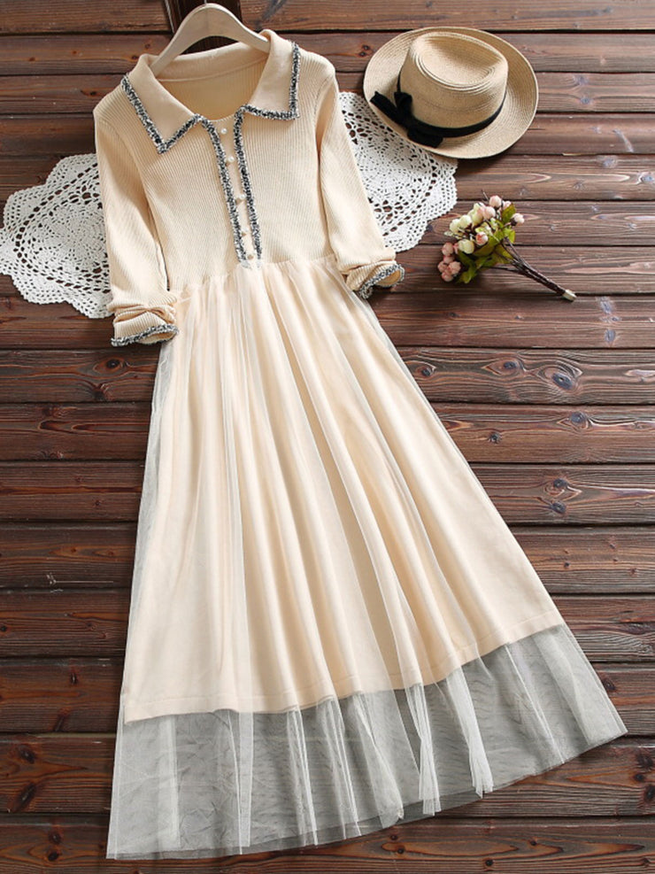Patchwork Sweet Plain Pullover Ankle-Length Spring Dress