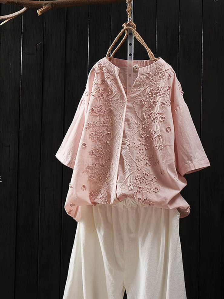 Floral Mori Girl Embroidery Summer Short Sleeve V-Neck Loose Blouse
