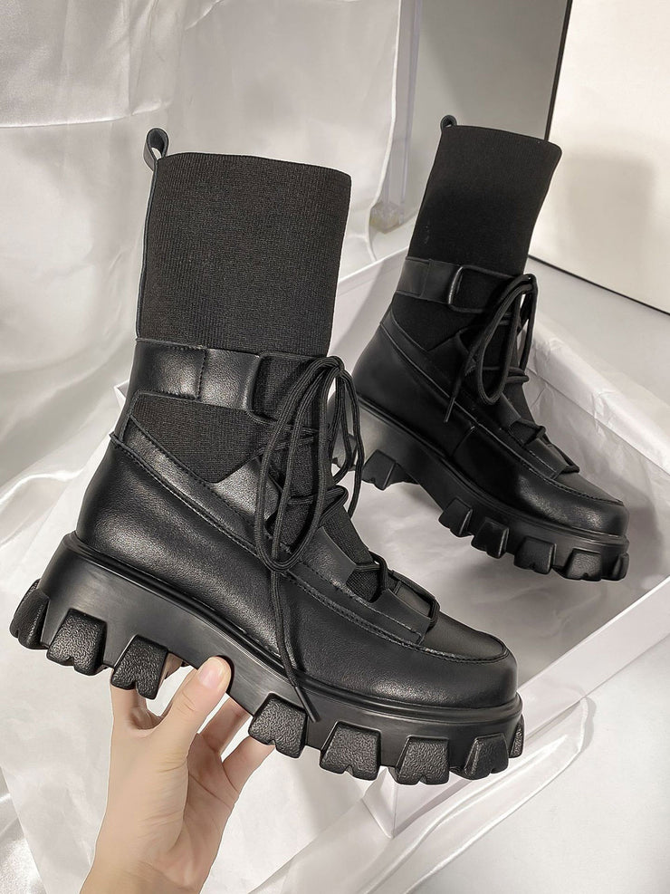 Leather Round Toe Sexy Wool Platform Boots