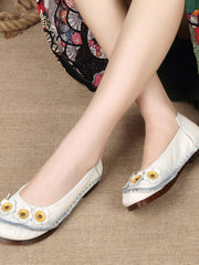Flower Folk Style Chunky Heel Spring Fall Leather Flats
