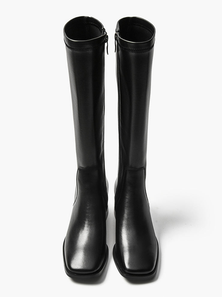Solid Color Chunky Heel Knee-High Leather Boots
