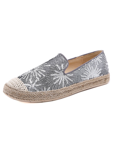 Summer Daily Korean Sequins Mesh Cloth Round Toe Flats